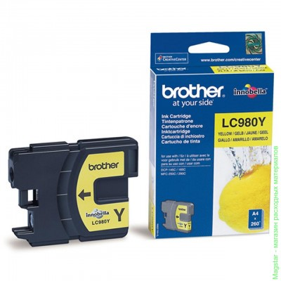 Картридж Brother LC980Y для DCP-145C / DCP-165 / DCP-195C / DCP-375CW / MFC-250C / MFC-290C
